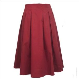 Red Pleated Skirt NWOT